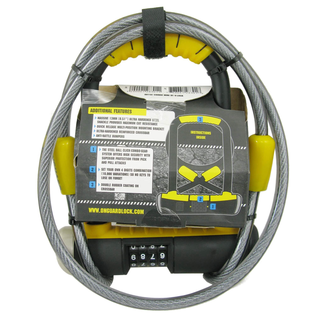 OnGuard 8015C Bulldog Mini 90mm x 140mm Combo U-Lock w-4' Cable