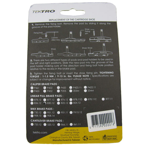 Image of Tektro 72mm 830.12 V-Brake Pads - TheBikesmiths