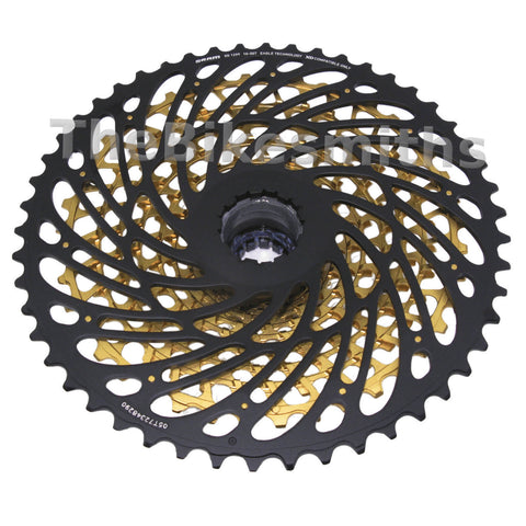 Image of Sram Eagle XX1 12 Speed Black Groupset with GOLD XG-1299 10-50t Cassette 4 Piece - TheBikesmiths