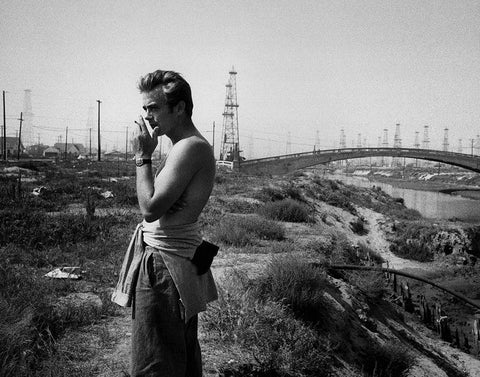 Sanford Roth captures James Dean on the set of 'Giant'.