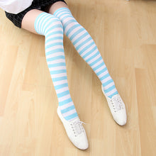 Candy Color Long Striped Knee High Socks
