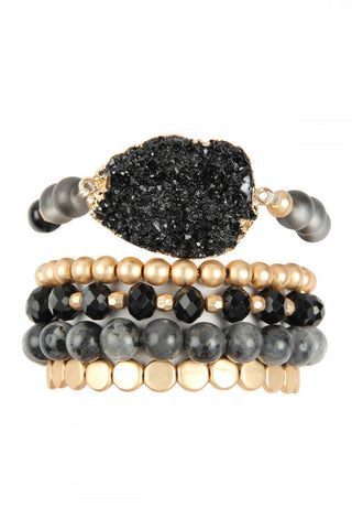 Black Druzy Charm Mixed Bracelet Set