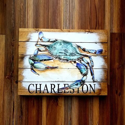 Charleston, SC Crab Pallet Artwork