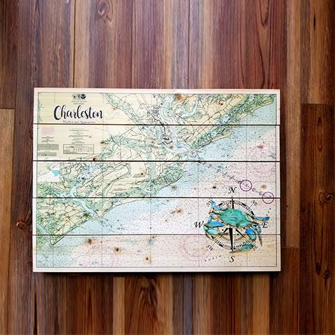 Charleston Harbor Pallet Map with Crab