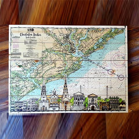 Charleston, SC Skyline Artwork Pallet Map