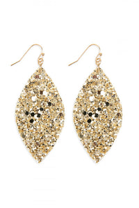Gold Sequin Marquise Drop Earrings