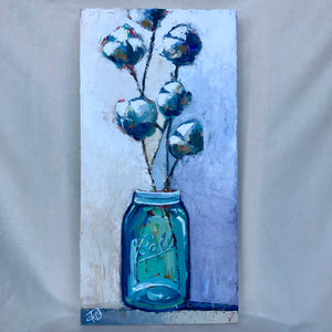 Mason Jar w/ Cotton Painting