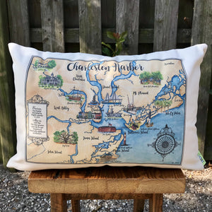 Charleston Harbor Map Accent Pillows