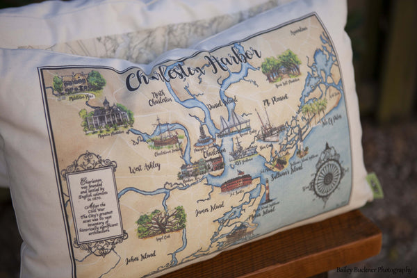 Charleston Map Pillows