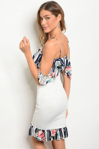 Ivory with Flower Print Dress