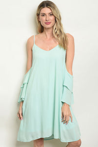 Mint Cold Shoulder Dress