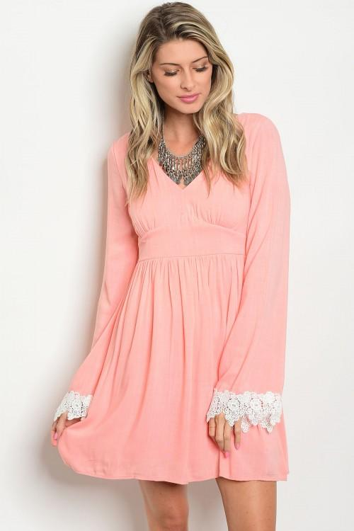 Peach long sleeve dress