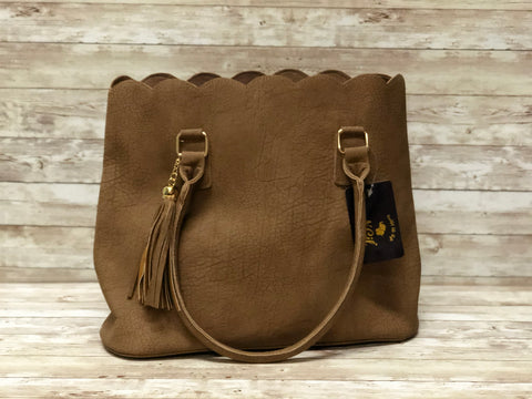 Brown Faux Leather Tote