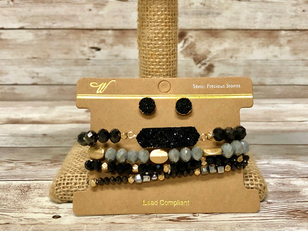 Black Mixed Bracelet Set with Earrings