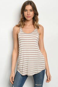 Taupe Stripes Top