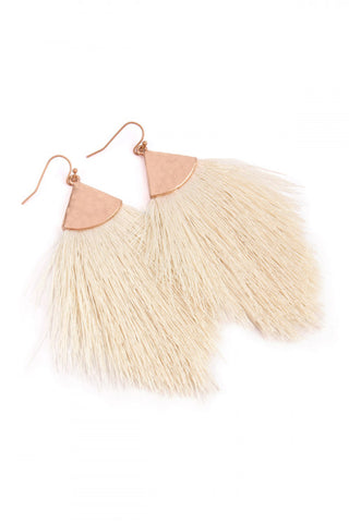 White Tassel Drop Earrings