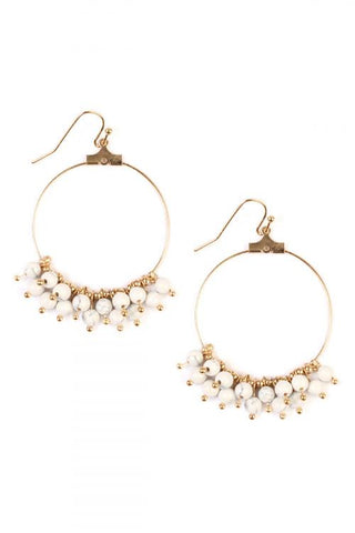 White Dangling Natural Stone Earrings