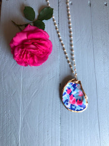 Lilly Fabric Oyster Necklace with Pearl Chain