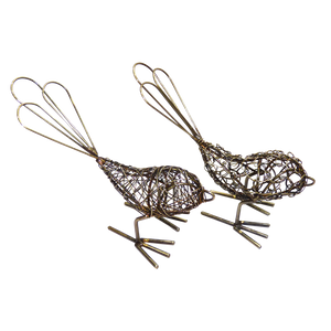 Mini Brass Wire Birds - Set of 2