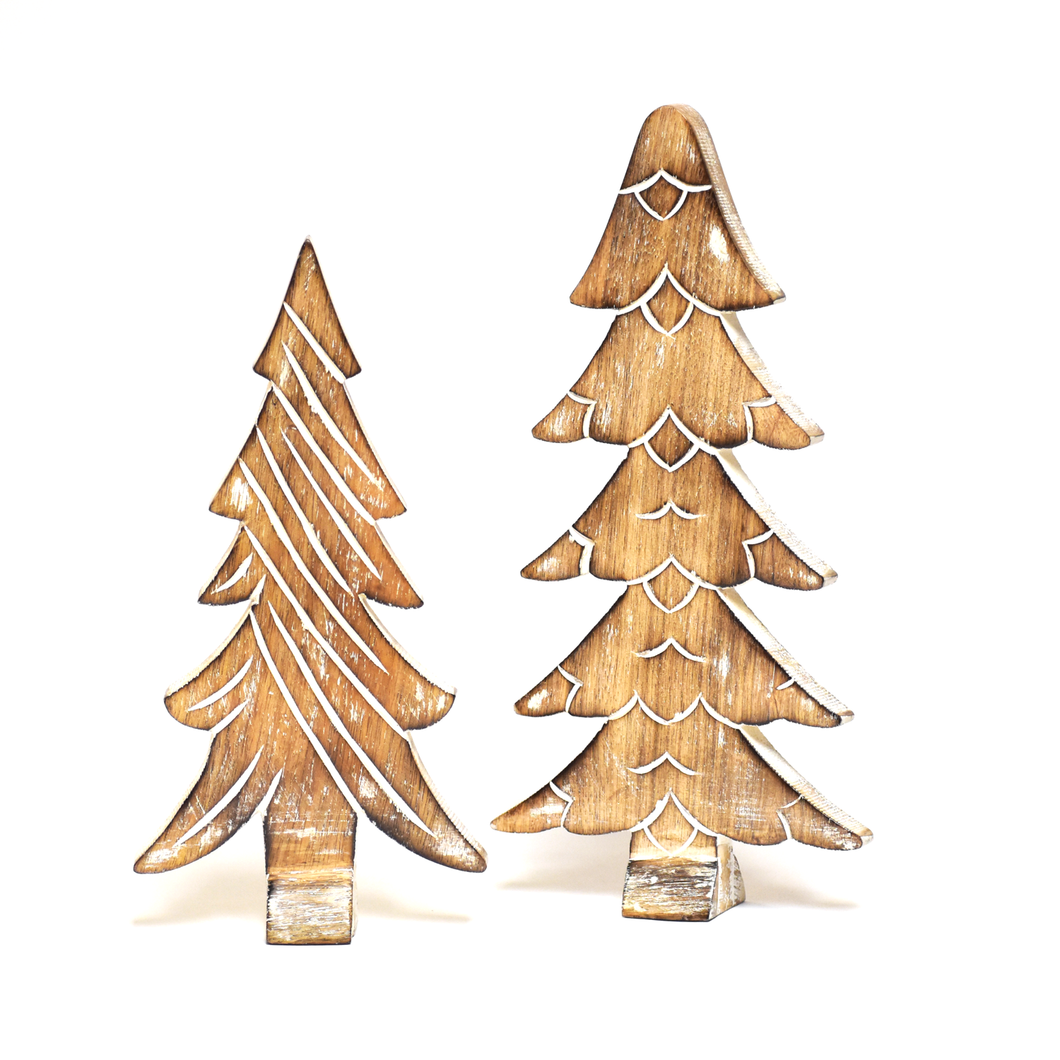 Wooden Winter Trees - Set of 2 PREORDER