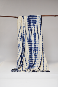 Shibori Throw/Tablecloth - Blue & Carmel