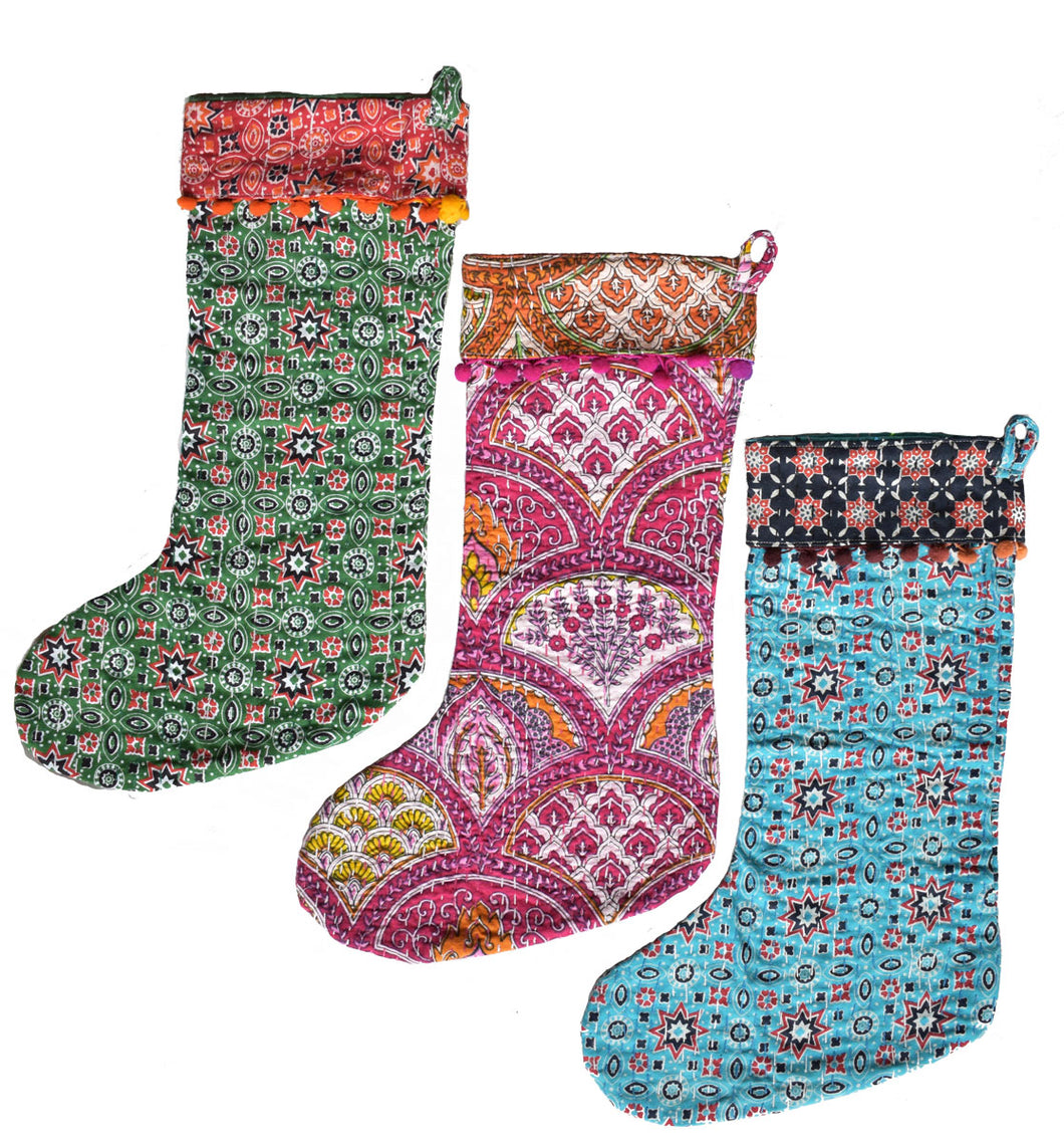 Kantha Stitched Stockings
