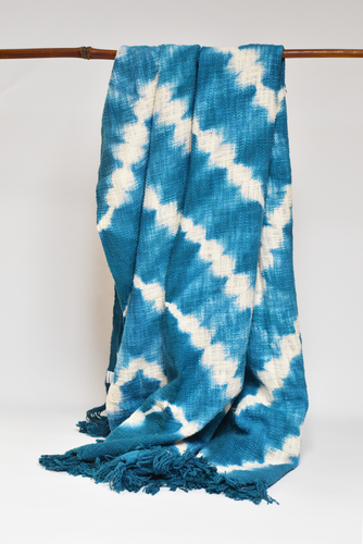 Zigzag Throw/Tablecloth - Slate & Turquoise