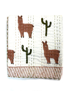 Block Printed Kantha Quilt - Llama Print - PREORDER - Expected in stock 3/8