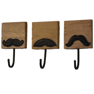 Mustache Hooks (Assorted Set Of 3)
