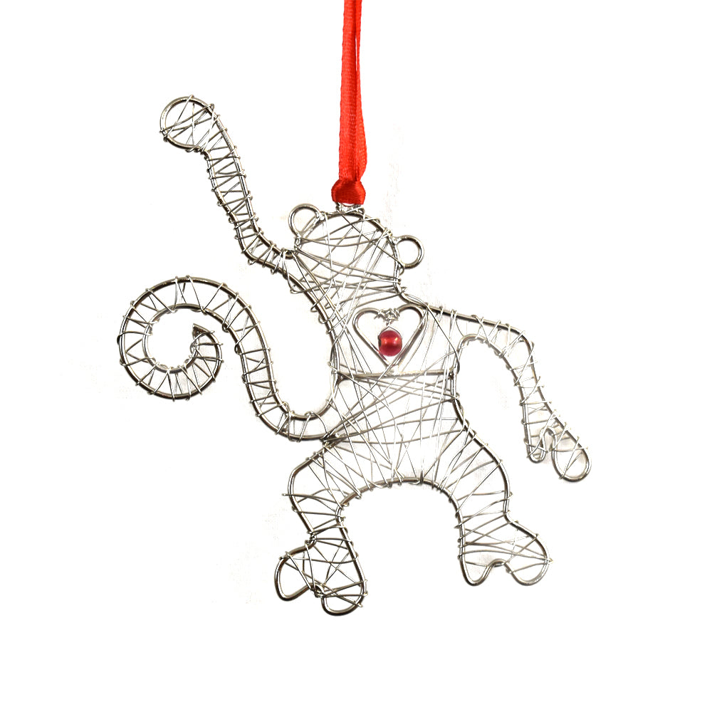 Wrapped Wire Monkey Ornament