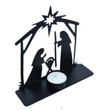 Metal Nativity Scene & Candle Holder - Small