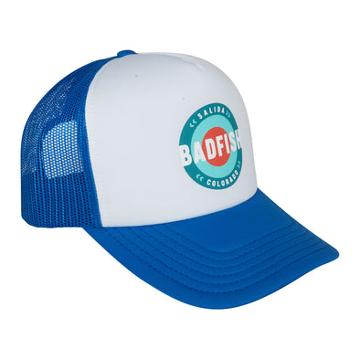 Bullseye Trucker Hat Royal Blue/White