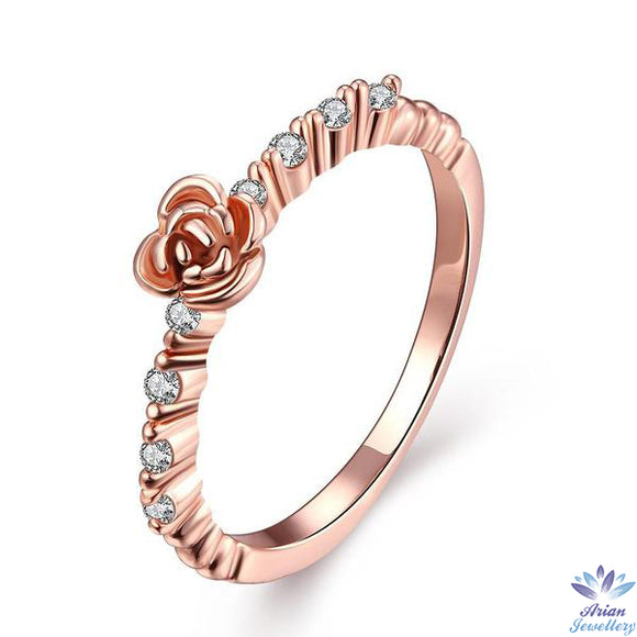 Rose Gold Plated Petite Floral Ring With Swarovski Crystals