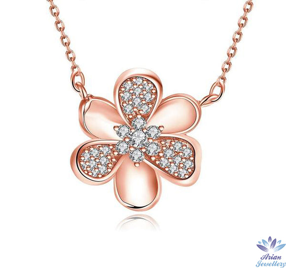 Rose Gold Plated Mini Clover Pendant Necklace With Swarovski Crystals