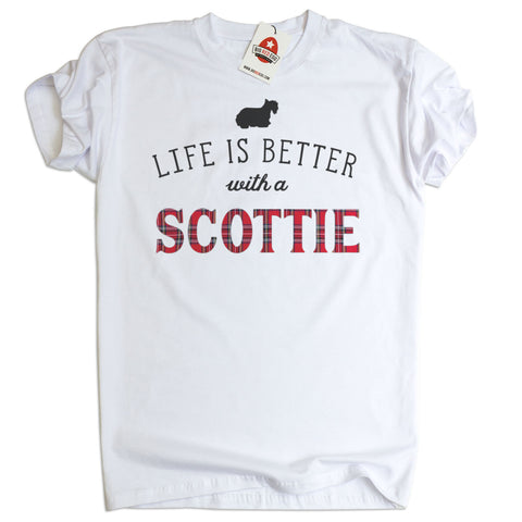 Life is better with a Scottie T-Shirt Scottish Highland Terrier t-shirt