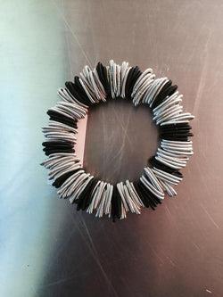 Black and Silver Spring Ring Bracelet