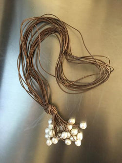 Tan Lariat Long Leather Necklace with White Pearls