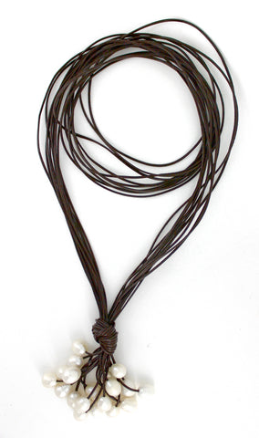 Brown Long Lariat Leather Necklace with White Pearls