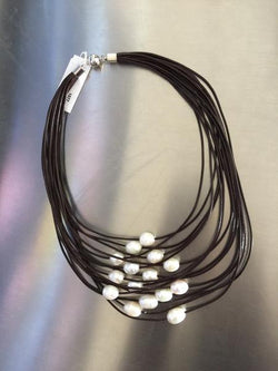 Brown 15 Layer Leather Necklace with White Pearls