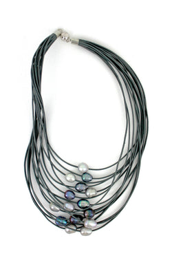 Gray 15 Layer Leather Necklace with Gray Pearls