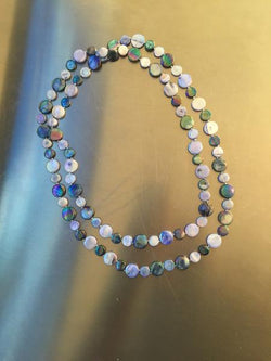 Peri/Navy Single Strand Mother of Pearl Necklace