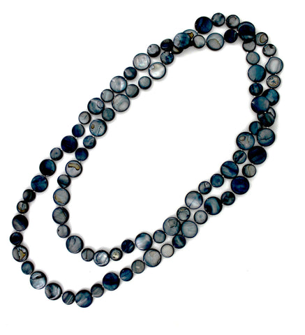 Black Single Strand Mother of Pearl Necklace