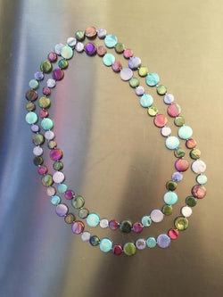 Mauve Multi Single Strand Mother of Pearl Necklace