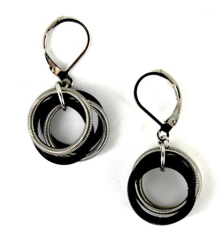 Black and Silver Piano Wire Loop Earring