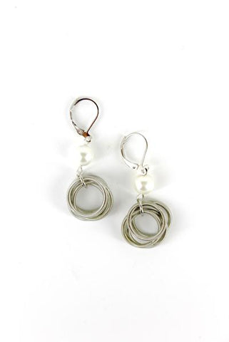 Silver Loop with Small White Pearl Earring