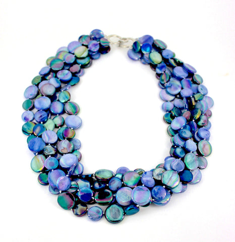 Peri/Navy 5 Strand Mother of Pearl Necklace