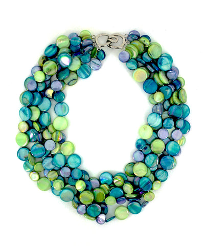 Blue/Green 5 Strand Mother of Pearl Necklace