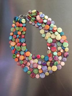Fruit Salad 5 Strand Mother of Pearl Necklace