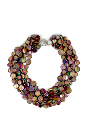 Chocolate 5 Strand Mother of Pearl Necklace