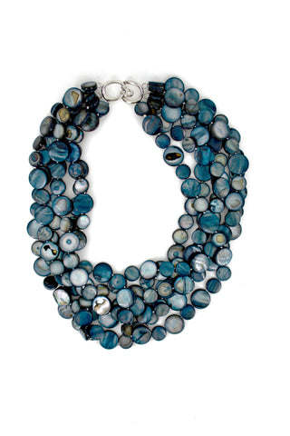Black 5 Strand Mother of Pearl Necklace